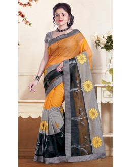 Ethnic Wear  Yellow & Grey Super Net Saree  - 73355