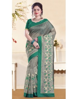 Party Wear Grey & Green Super Net Saree  - 73357