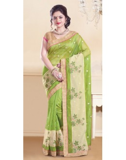 Party Wear Green & Brown Super Net Saree  - 73358