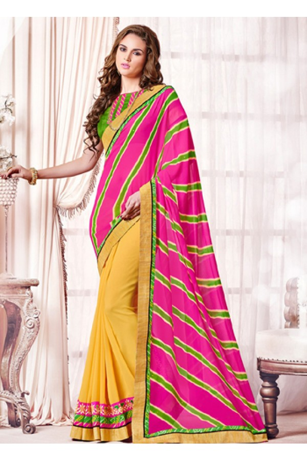 Ethnic Wear Pink & Yellow Georgette Saree  - 73362