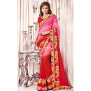 Ethnic Wear Pink & Red Georgette Saree  - 73371