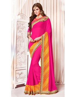 Party Wear Pink Georgette Saree  - 73373