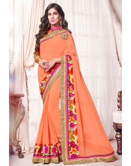 Casual Wear Orange Georgette Saree  - 73374