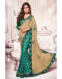 Ethnic Wear Brown & Turquoise Georgette Saree  - 73375