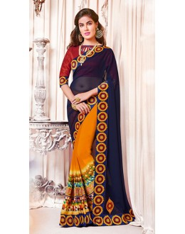 Ethnic Wear Navy Blue & Yellow Georgette Saree  - 73383