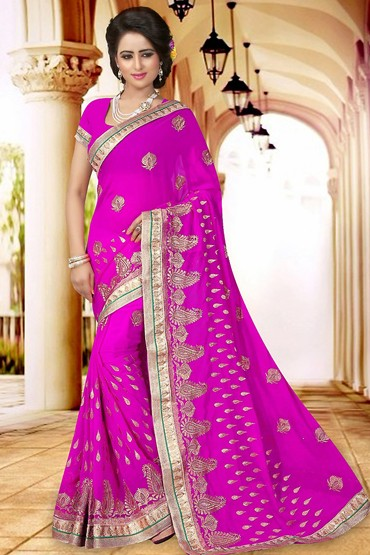 Ethnic Wear Fuchsia Georgette Saree  - 73405
