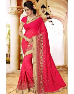 Ethnic Wear Pink Georgette Saree  - 73406