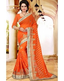 Party Wear Orange Georgette Saree  - 73407