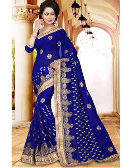 Party Wear Blue Georgette Saree  - 73408