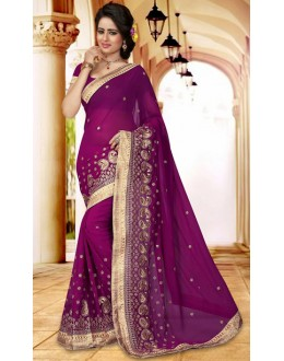 Designer Purple Georgette Saree  - 73409