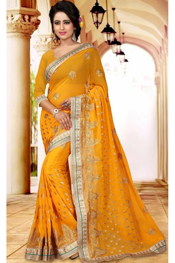 Designer Yellow Georgette Embroidered Saree  - 73410