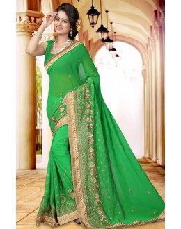 Traditional Green Georgette Embroidered Saree  - 73411