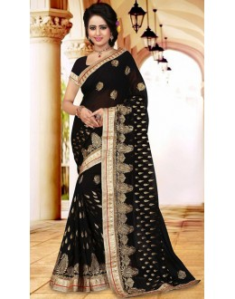 Traditional Black Georgette Embroidered Saree  - 73413