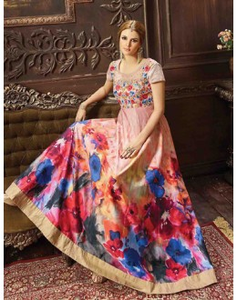 Party Wear Pink Banarasi Silk Anarkali Suit - 73482