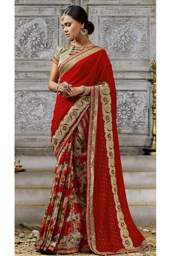 Ethnic Wear Red & Beige Georgette Saree  - 73523