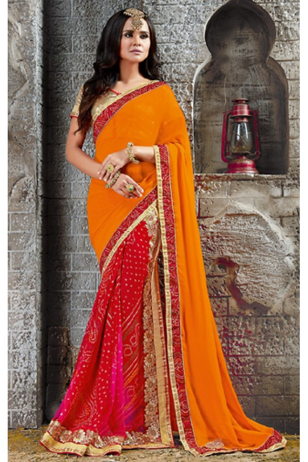 Casual Wear Orange & Red Georgette Saree  - 73530