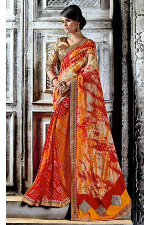 Casual Wear Orange & Gold Georgette Saree  - 73534