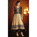 Ethnic Wear Black & Beige Georgette Anarkali Suit- 73539