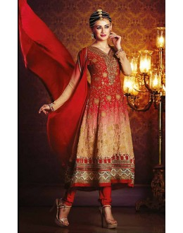 Party Wear Red Georgette Anarkali Suit- 73540