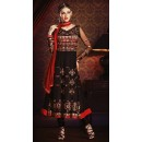 Party Wear Black & Red Georgette Anarkali Suit- 73541