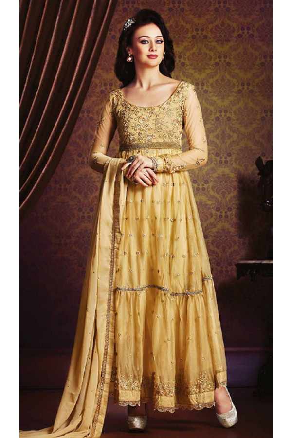 Ethnic Wear Beige Georgette Anarkali Suit- 73545