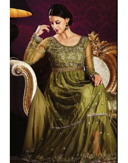 Ethnic Wear Green Georgette Anarkali Suit- 73546