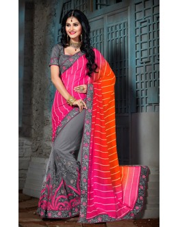 Party Wear Pink & Grey Net Saree  - 73553