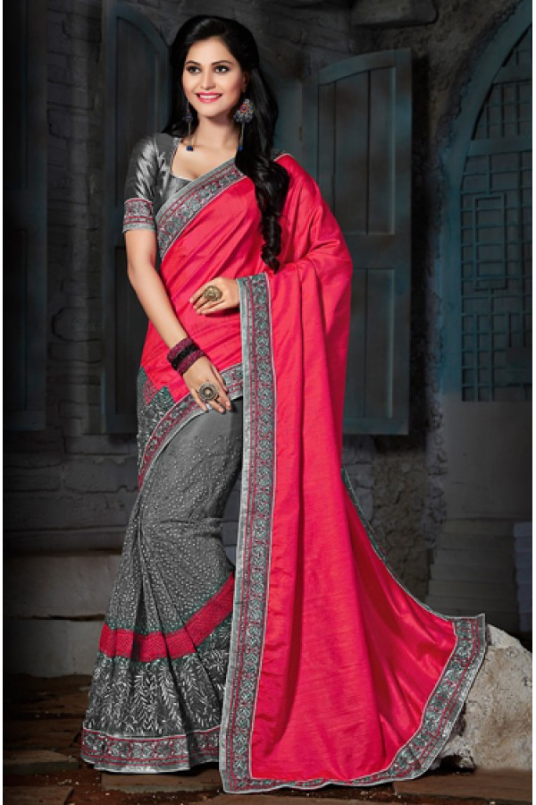 Party Wear Pink & Grey Bhagalpuri Silk Saree  - 73555