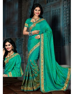 Party Wear Green Crepe Silk Saree  - 73557