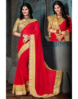 Party Wear Red & Gold Chiffon Saree  - 73562