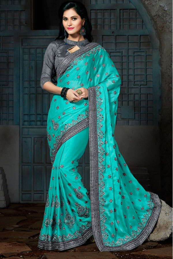 Party Wear Turquoise & Grey Chiffon Saree  - 73563