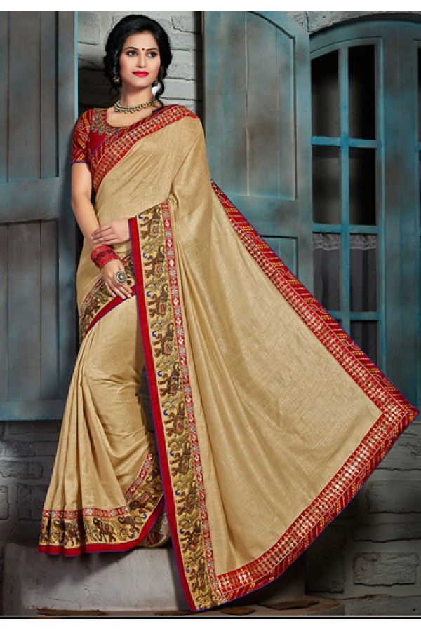 Party Wear Tan Brown & Red Chiffon Saree  - 73568