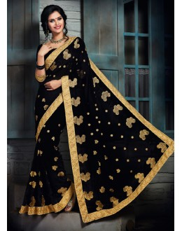 Ethnic Wear Black Chiffon Saree  - 73570
