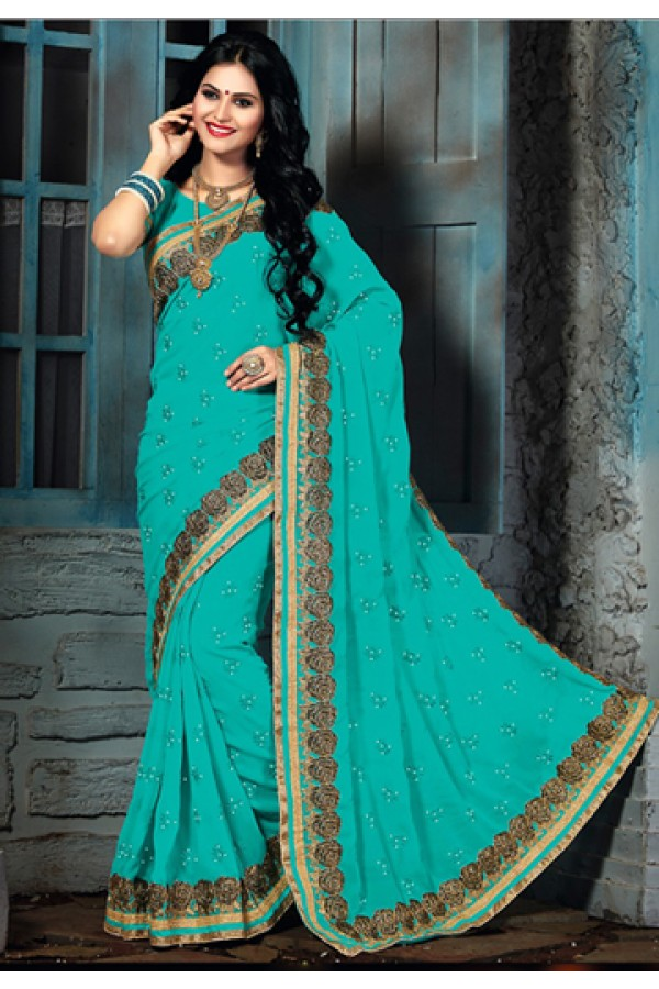 Party Wear Turquoise Chiffon Saree  - 73571