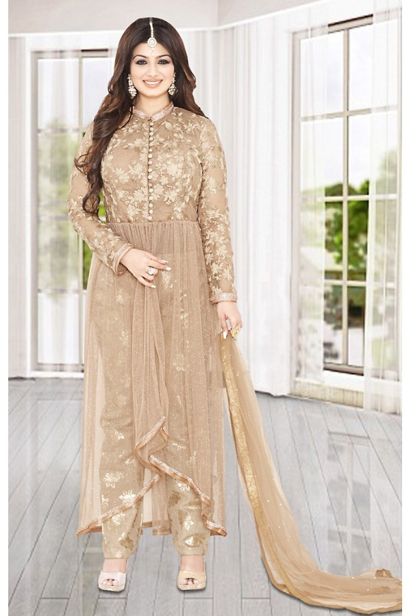 Fancy Tan Brown Embroidery Anarkali Sui t- 73588