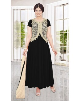 Ethnic Wear Black & Beige Georgette Anarkali Suit- 73589