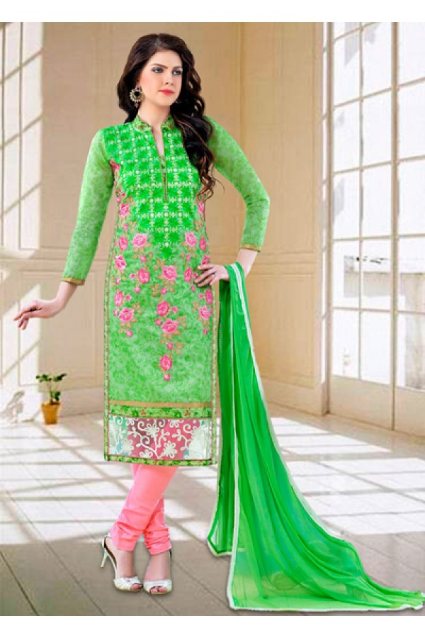 Ethnic Wear Green & Pink Cotton Salwar Suit - 73590