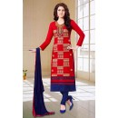 Office Wear Red & Navy Blue Cotton Churidar Suit - 73592