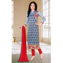 Ethnic Wear Blue & Red Salwar Suit - 73599