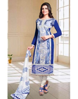 Ethnic Wear Blue & White Churidar Suit - 73601