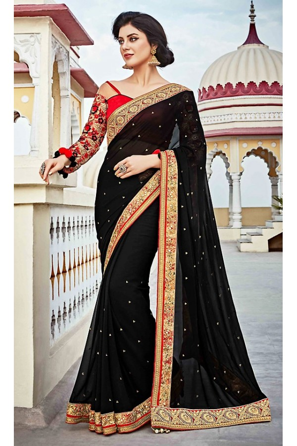 Ethnic Wear Black & Red Georgette Saree  - 73625