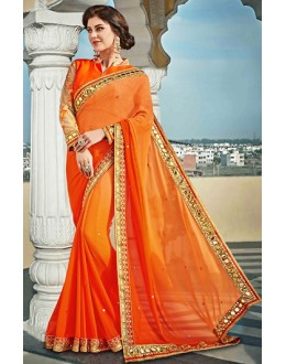 Party Wear Orange Georgette Saree  - 73626