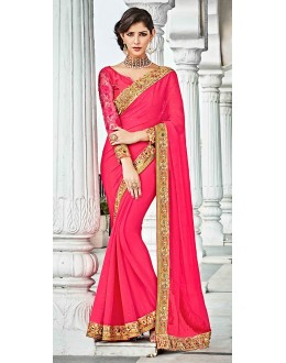 Ethnic Wear Pink Georgette Saree  - 73628
