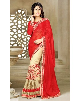 Designer Red & Beige Georgette Saree  - 73631