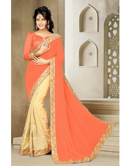Ethnic Wear Orange & Beige Georgette Saree  - 73632