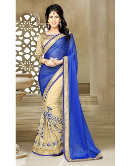 Ethnic Wear Blue & Beige Georgette Saree  - 73633