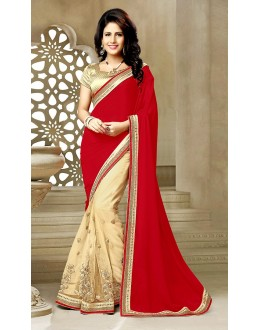 Party Wear Red & Beige Georgette Saree  - 73634