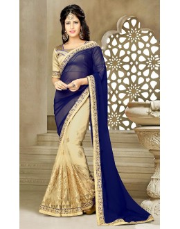 Designer Blue & Beige Georgette Saree  - 73635