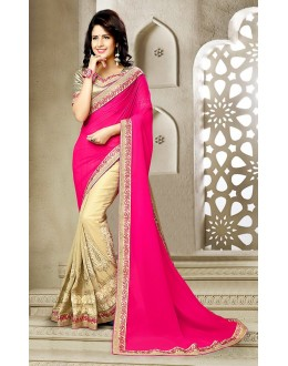 Party Wear Pink & Beige Georgette Saree  - 73636