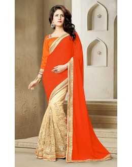 Ethnic Wear Orange & Beige Georgette Saree  - 73638